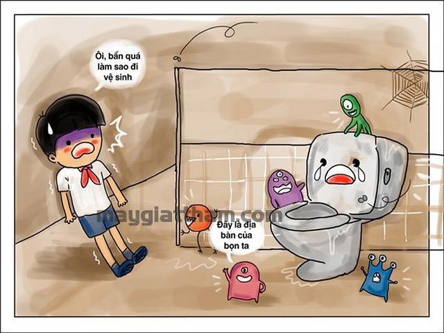 Sàn nhà vệ sinh bị bẩn