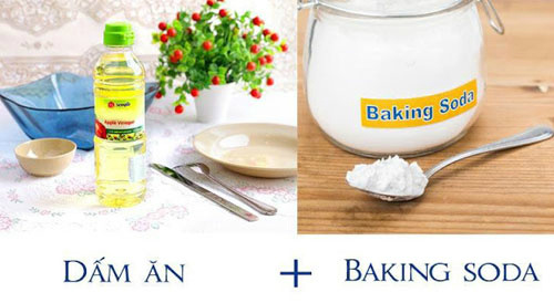 dùng hôn hợp dấm và baking soda