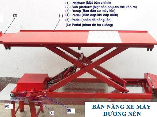 Các bộ phận cấu thành của bàn nâng xe máy kiểu nổi