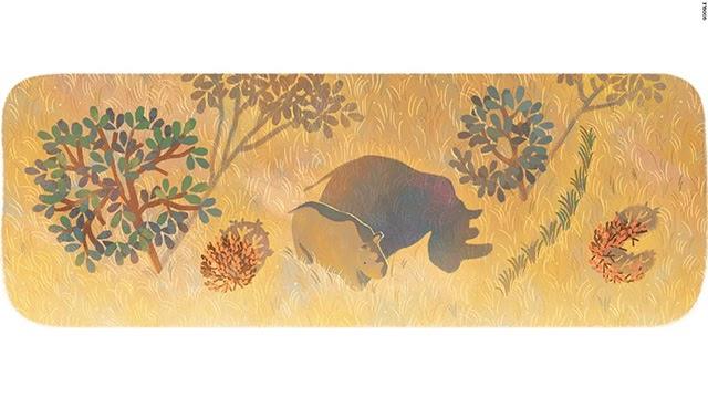 Google Doodle tưởng nhớ chú tê giác trắng đực cuối cùng Sudan